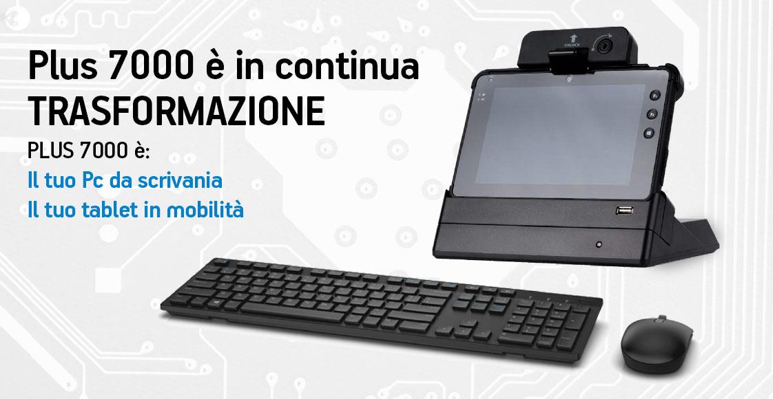 """Tablet 7"""" Plus 7000 per Retail e Tentata vendita con culla per l'uso alla scrivania"""
