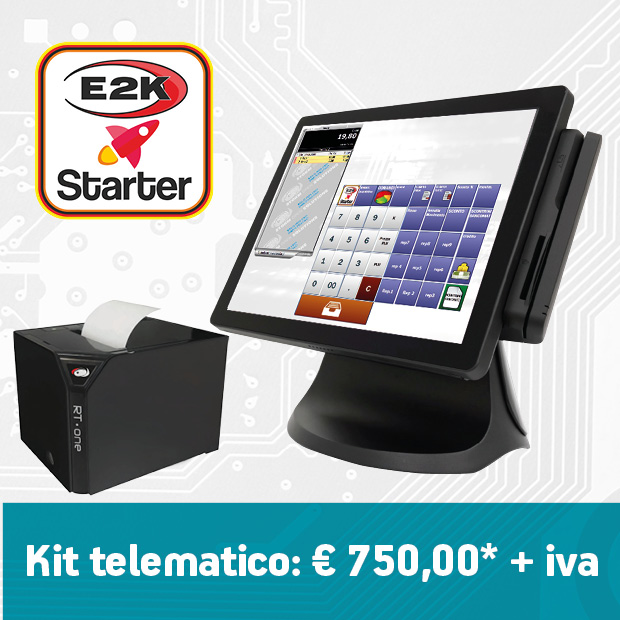 registratore telematico composto da pc pos, stampatne rt e software e2k