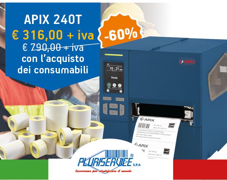 Sconto 60% sulla stampante Apix 240T