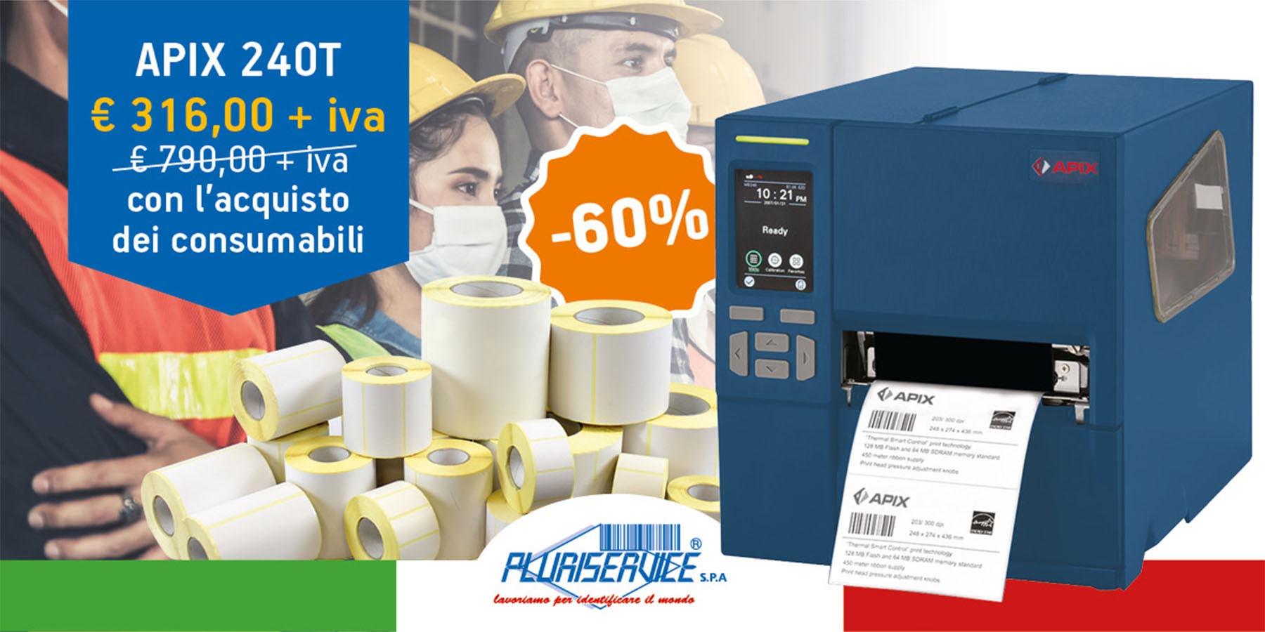 stampante per etichette industriale apix 240T in promozione