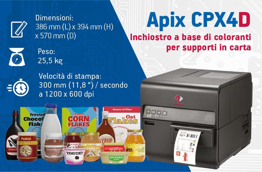 Stampante per etichette a colori in carta APIX CPX4D