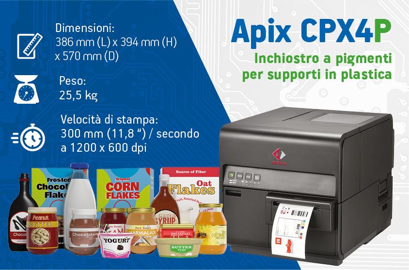 Stampante per etichette a colori in plastica APIX CPX4P