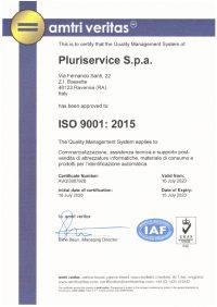 ISO 9001:2015 - Certificazione Pluriservice SPA
